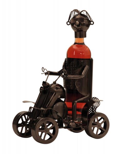 Moderner Wein Flaschenhalter Flaschenständer Quad aus Metall in silber Höhe 36,5 cm cm Breite 25 cm