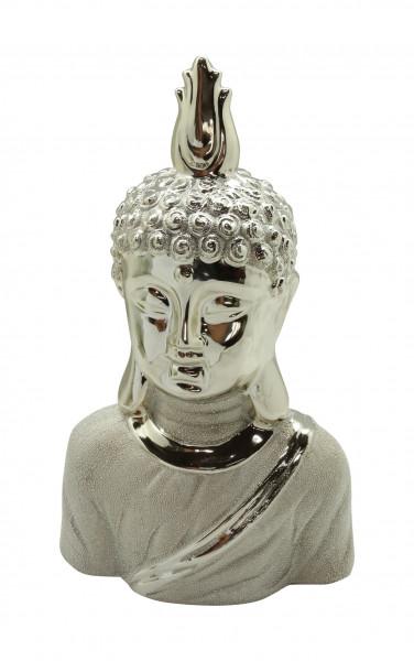 Modern sculpture deco figure Buddha head 'Grace' ceramic champagne / silver height 32.5 cm