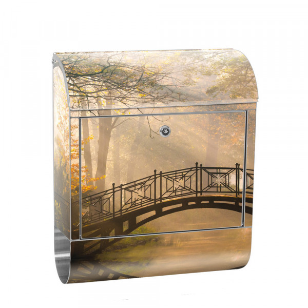 Stainless Steel Letterbox with Newspaper roll & Motif Forest Trees autumn | No. 0264