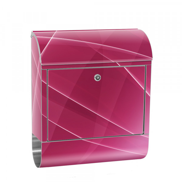 Stainless Steel Letterbox with Newspaper roll & Motif Abstract Waves pink | No. 0211
