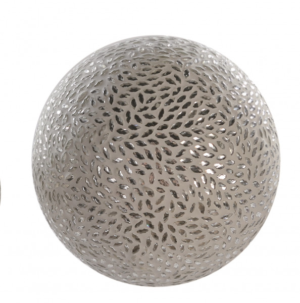 Modern decoration ball with mosaic stones white / silver diameter 12 cm