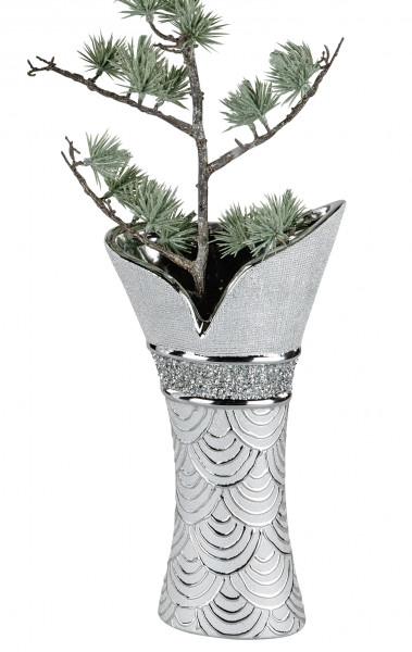 Moderne Dekovase Blumenvase Tischvase Vase aus Keramik Silber glänzend und matt 16x30 cm
