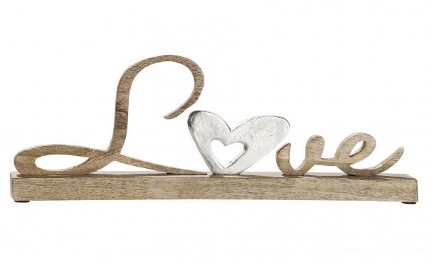 Moderner Schriftzug Aufsteller LOVE silber auf Mangoholz 41x5x15 cm
