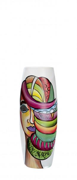 Moderne Dekovase Blumenvase Tischvase Vase aus Glas satiniert mehrfarbig 11x26 cm