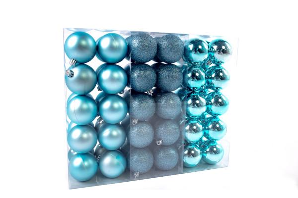 Großes Weihnachtskugeln Set 61 teilig Ø 6 cm Blau inklusive Sternspitze Weihnachtsbaumschmuck