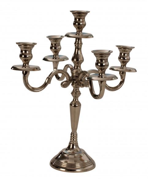 Kerzenständer 5-armig Metall Kerzenleuchter Höhe 35 cm silber Kandelaber