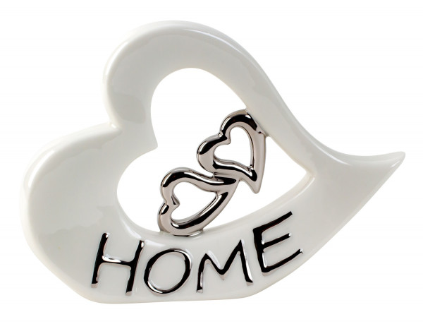 Modern sculpture decoration figure heart made of ceramic white and silver 22x16 cm