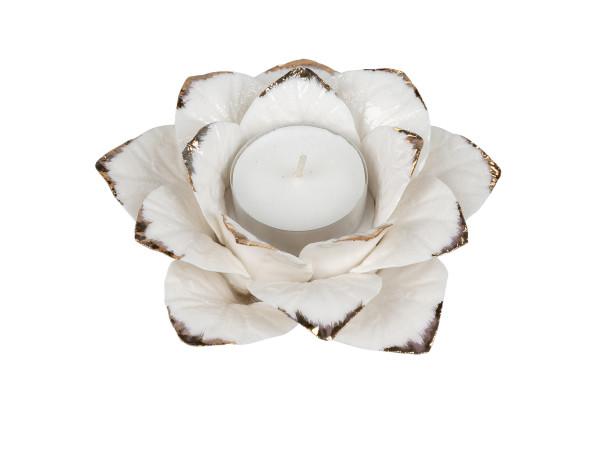 Moderner Teelichthalter Teelichtleuchte Windlicht in Form einer Blume aus Porzellan weiß/Silber D15c