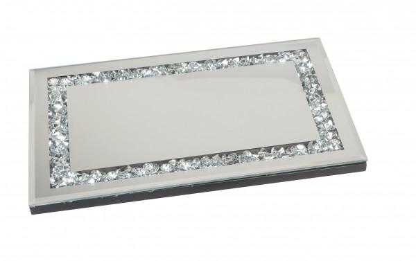 Dekoratives Spiegeltablett Tablett Exklusives Serviertablett aus Holz und Spiegel Glas silber 33x22