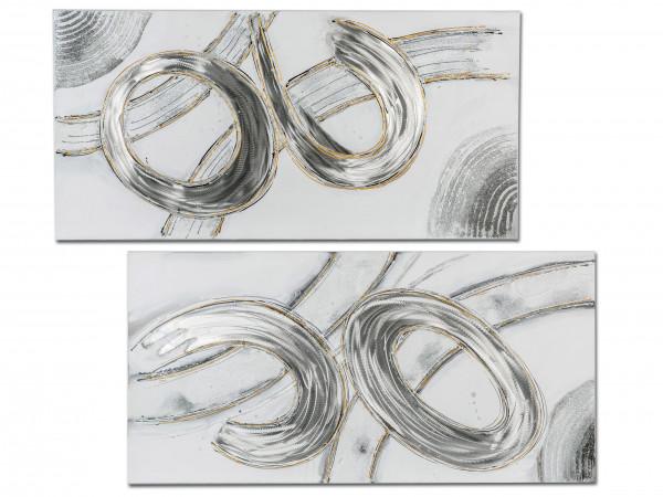 Exklusives Designer Wandbild mit Alu silber 100x50 cm