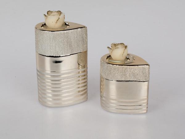 Modernes 2-teiliges Teelichthalter Set aus Keramik silber/gold Höhe 9 + 12 cm