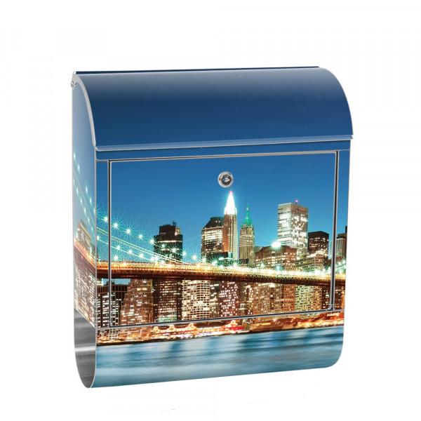 Edelstahlbriefkasten mit Zeitungsrolle & Motiv Empire State Building | no. 0179