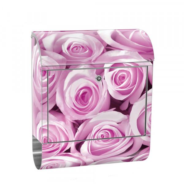Stainless Steel Letterbox with Newspaper roll & Motif Flowers rose flower pink | No. 0186