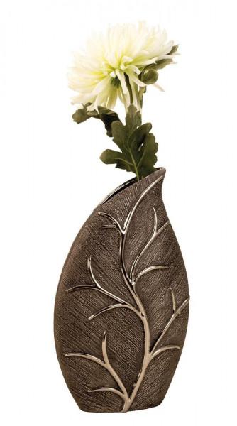 Moderne Deko Vase Blumenvase in Blattform aus Keramik silber / grau Höhe 35 cm Breite 23 cm
