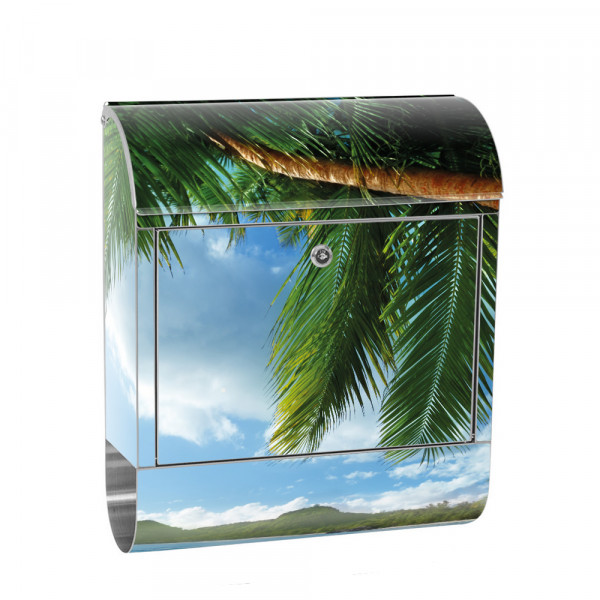 Stainless Steel Letterbox with Newspaper roll & Motif beach sea Palm Tree | No. 0004