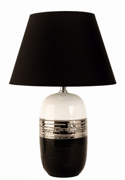 Moderne Tischlampe Deko Lampe aus Keramik schwarz/silber/weiß Höhe 45 cm