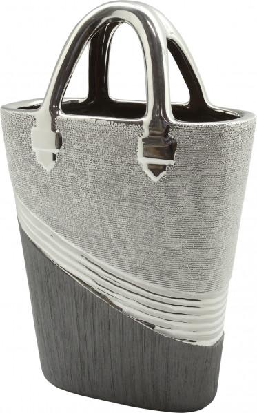 Modern deco vase flower vase sculpture handbag 'Bridgetown' made of ceramic silver 33x20 cm