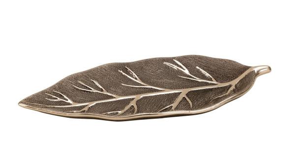 Moderne Dekoschale Obst Schale in Blattform silber aus Keramik 40x18 cm