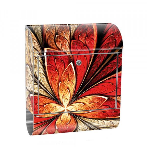 Edelstahlbriefkasten mit Zeitungsrolle & Motiv Ornament abstrakt 3D | no. 0115