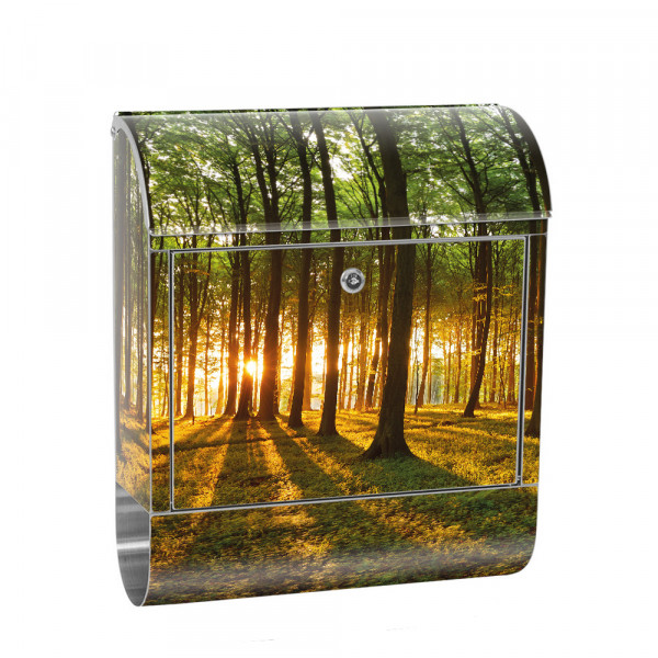 Stainless Steel Letterbox with Newspaper roll & Motif Sunset trees | No. 0639