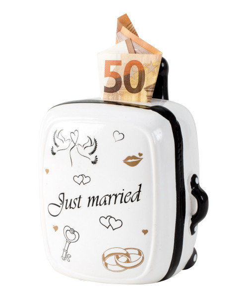 Modern moneybox piggy bank Just married for wedding ceramic white height 15 cm