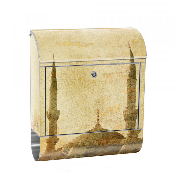 Stainless Steel Letterbox with Newspaper roll & Motif Istanbul Mosque Beige | No. 0267