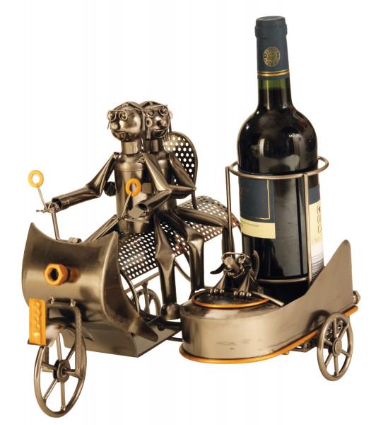 Moderner Wein Flaschenhalter Flaschenständer Motorrad mit Beiwagen aus Metall in silber Höhe 27 cm
