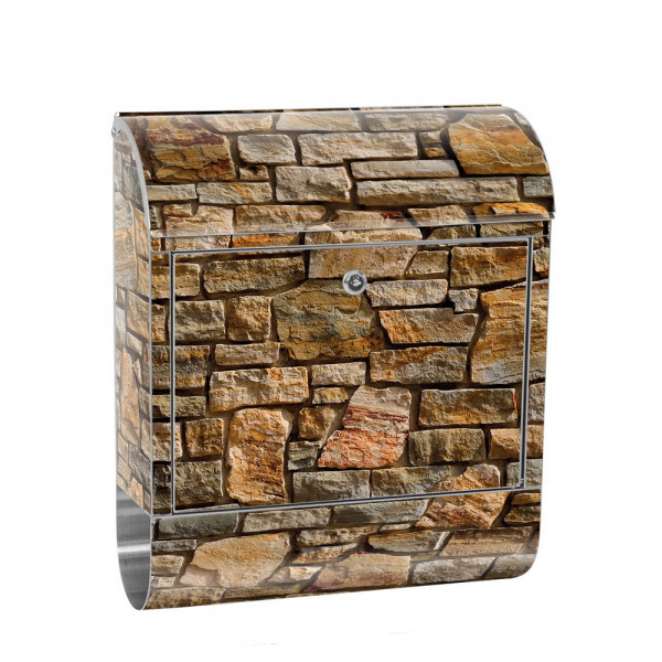 Stainless Steel Letterbox with Newspaper roll & Motif stone Stone Optic Wall | No. 0155