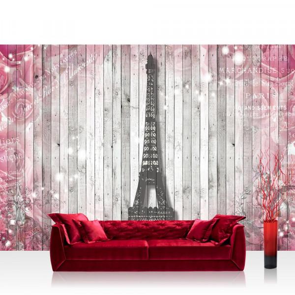 Vlies Fototapete Holz Tapete Holzwand Holzoptik Eifelturm Malerei Rosen Schrift Liebe grau