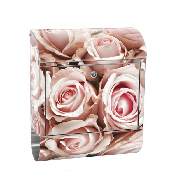 Stainless Steel Letterbox with Newspaper roll & Motif Flowers rose flower white | No. 0189