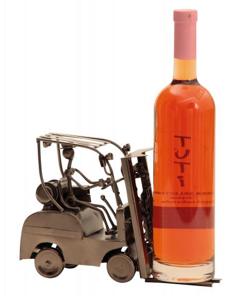 Moderner Wein Flaschenhalter Flaschenständer Gabelstapler aus Metall in silber Höhe 17 cm Breite 25