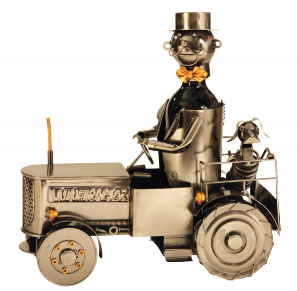 Extravagant wine bottle holder tractor made of metal height 22.5 cm