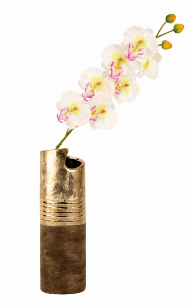 Modern decorative vase flower vase ceramic gold / brown height 30 cm