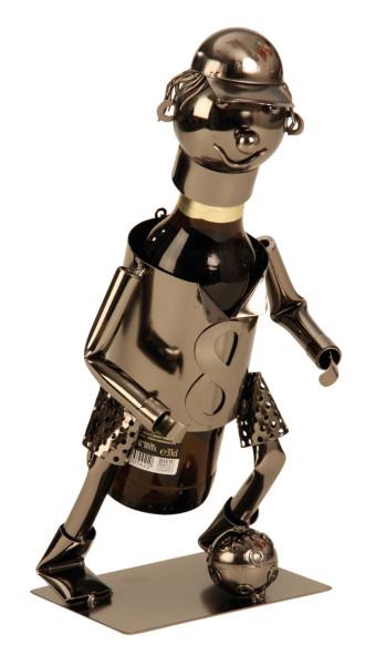 Moderner Bier Flaschenhalter Flaschenständer Fussballspieler aus Metall aus silber Höhe 18,5 cm