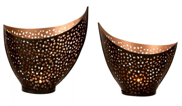 Wind light holder Tealight holder in sickle shape 2 sizes black / gold metal height 12 + 15 cm