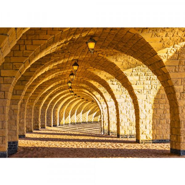 Vlies Fototapete Arched Stone Colonnades Architektur Tapete 3D Perspektive Gewölbe Säulen Sandstein
