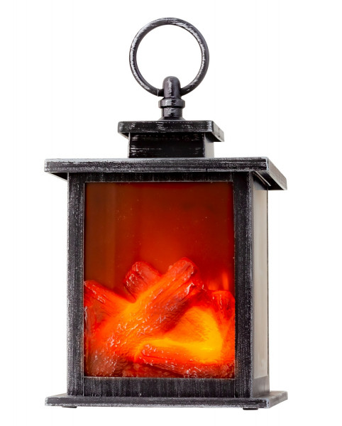 LED table fireplace lantern with realistic flame simulation black / silver 15x22 cm