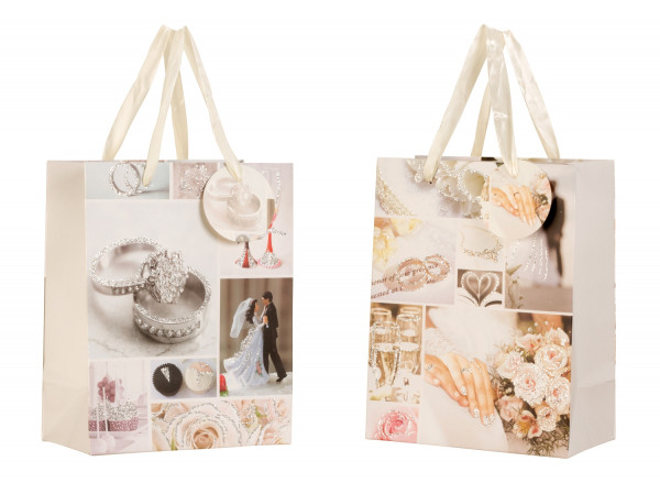 Beautiful wedding gift bags with glitter in the set of 12 18x23x10cm
