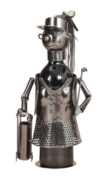 Moderner Wein Flaschenhalter Flaschenständer Golfspieler aus Metall in silber Höhe 33 cm