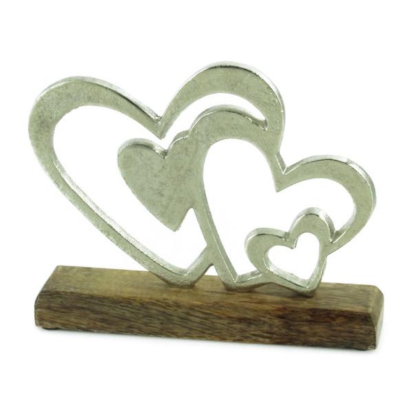 Exklusive Skulptur Dekofigur Herzen aus Aluminium auf Sockel aus Holz Silber/braun 24x19 cm