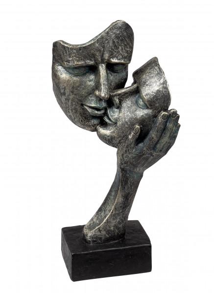 Exklusive Deko Büste Skulptur Liebespaar aus Kunststein Antikfarben Höhe 30 cm