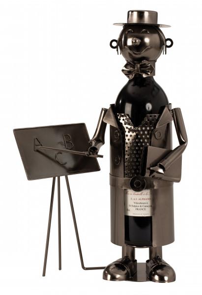 Moderner Wein Flaschenhalter Flaschenständer Lehrer aus Metall in silber Höhe 37 cm Breite 23,5 cm