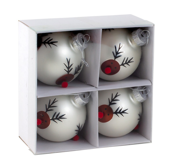 Modern Christmas balls Christmas tree balls glass balls SET with 4 pieces color silver motif reindeer 6 cm