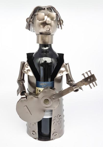 Moderner Wein Flaschenhalter Flaschenständer Gitarrist aus Metall in silber Höhe 31,5 cm