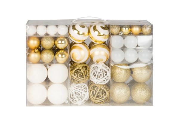 100 Weihnachtskugeln 2 farbig weiß und gold passend mit Haken glänzend glitzernd matt bis Ø 6 cm