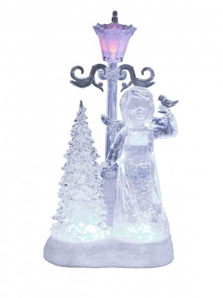 Beleuchteter LED Engel mit Weihnachtsbaum und Laterne in weiss aus Acryl mit Wasser gefüllt Höhe 30
