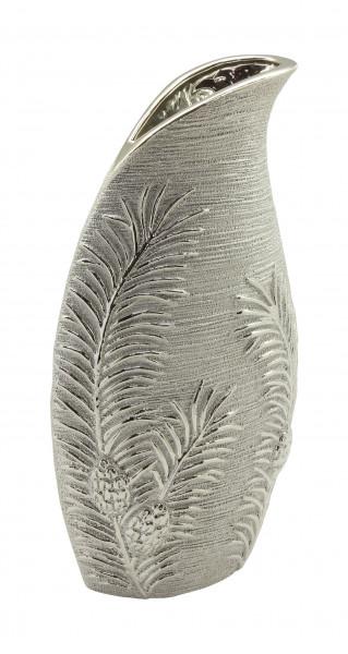 Moderne Dekovase Blumenvase Tischvase Vase aus Keramik Silber Höhe 34 cm Breite 17,5 cm