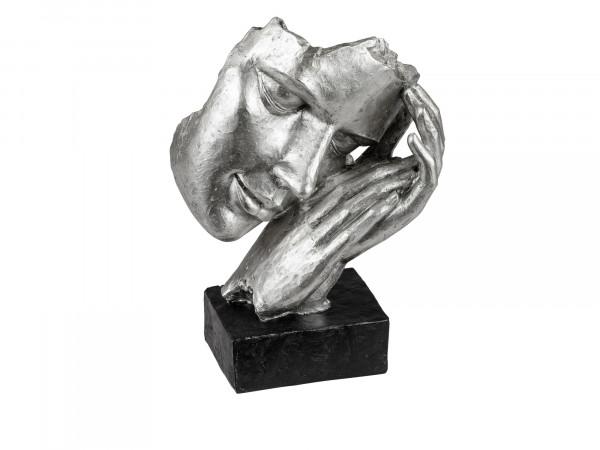 Exklusive Deko Büste Skulptur Dekofigur aus Kunststein in schwarz/silber 17x23 cm