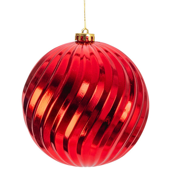 Large Christmas Baubles Baubles SET with 4 pieces color RED shiny diameter 15 cm