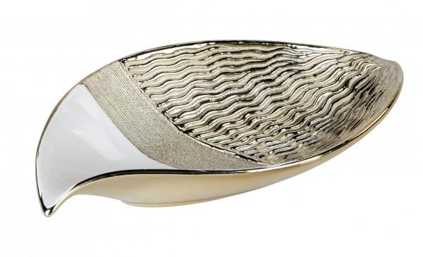 Moderne Dekoschale Obstschale Schale aus Keramik weiß und gold Länge 27 cm